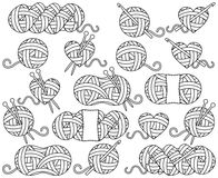 Cute Vector Collection of Balls of Yarn, Skeins of Yarn or Thread Stock Image