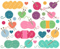 Cute Vector Collection of Balls of Yarn, Skeins of Yarn or Thread Stock Photography