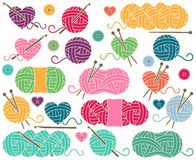 Cute Vector Collection of Balls of Yarn, Skeins of Yarn or Thread Royalty Free Stock Image