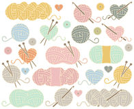 Cute Vector Collection of Balls of Yarn, Skeins of Yarn or Thread Royalty Free Stock Photography