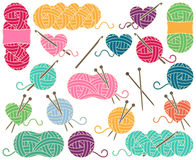 Cute Vector Collection of Balls of Yarn, Skeins of Yarn or Thread Stock Images