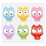 Cute Vector Collection of Bright Owls Stock Photography