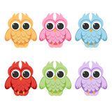 Cute Vector Collection of Bright Owls Stock Images