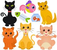 Cute vector collection of cat and fish isolated on Stock Photography