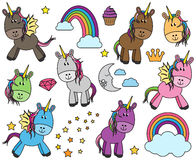 Cute Vector Collection of Unicorns or Horses Stock Image