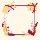 Cute vector colorful frame with leaves in hand drawn style. Template for design. royalty free illustration