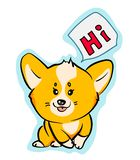 Cute vector corgi dog sticker stock images