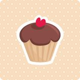 Cute vector cupcake with white polka dots background Royalty Free Stock Photo