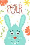 Cute vector Easter card. Easter eggs, spring holiday. Greeting card with a bunny stock photo
