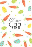Cute vector Easter card. Easter eggs, spring holiday. Greeting card. Egg hunt royalty free stock photos