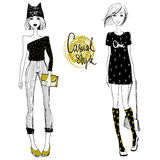 Cute Vector Fashion girls. Sketch girls. Hipster girls. Stock Photo