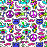 Cute vector fashioned patches with eye and pink mustache, sunglasses  rainbow star Royalty Free Stock Photo