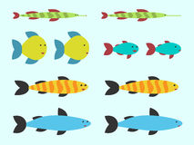 Cute vector fishes set Royalty Free Stock Photography