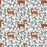 Cute vector flat deer on seamless pattern royalty free illustration