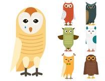 Cartoon owl bird cute character sleep sweet owlet vector illustration. Royalty Free Stock Photos