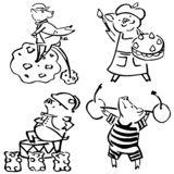 Cute vector funny set costumed funny pigs royalty free illustration