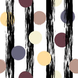 Cute vector geometric seamless pattern . Polka dots and stripes. Brush strokes. Hand drawn grunge texture. Abstract Stock Photos