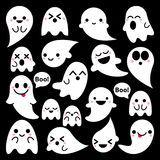 Cute vector ghosts icons on black background, Halloween design set, Kawaii ghost collection Stock Photography