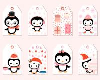 Cute vector gift tags with cartoon penguins. Cute vector gift tags with cartoon penguin characters for Christmas presents and winter decoration vector illustration
