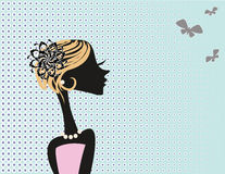 Cute vector girl on the abstract background Royalty Free Stock Photo
