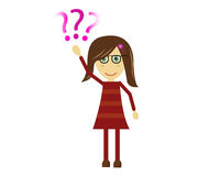 Cute Vector Girl asking question. Vector illustration of a cute girl raising her hand and asking a question vector illustration