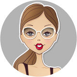 Cute vector girl avatar icon. Young woman face. Pretty lady port Stock Photos