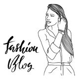 Cute vector girl illustration. Woman with long hair. Fashion blog modern brush lettering. Black and white sketch. Stock Photos