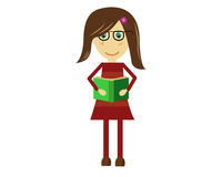 Cute Vector Girl Reading Book Royalty Free Stock Photos