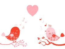Cute vector greeting card with birds Stock Photography