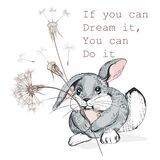 Cute Vector Hand Drawn Rabbit Holding Dandelion, Dreaming Concept Stock Photography