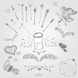Cute vector hand-drown hipster set of love Royalty Free Stock Photo