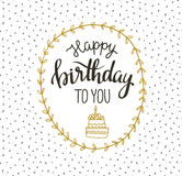 Cute vector happy birthday to you card with cake and wreath. Vector illustration. Royalty Free Stock Image