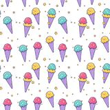 Cute vector ice cream seamless pattern. Ice cream seamless pattern. Cute vector flat illustration. Colorful background Royalty Free Stock Image