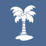 Cute vector icon of the palm tree. Design for banner, poster or print Stock Image