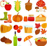 Cute Vector Icons : Autumn / Fall Theme Royalty Free Stock Photography