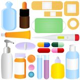 Cute vector icons: Medicines, Pills, Medical Equip Stock Image