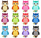 Cute vector Icons: Night Owls on white Stock Photography