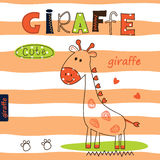 Cute vector illustration with cartoon giraffe Royalty Free Stock Image