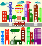 Cute vector illustration of a city stree Royalty Free Stock Image
