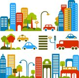 Cute vector illustration of a city street Royalty Free Stock Image