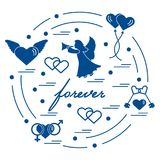 Cute vector illustration with different love symbols: hearts, ai. R balloons, key, angel and other  arranged in a circle. Romantic collection Stock Photos