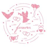 Cute vector illustration with different love symbols: hearts, ai. R balloons, key, angel and other  arranged in a circle. Romantic collection Royalty Free Stock Photos
