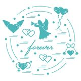 Cute vector illustration with different love symbols: hearts, ai. R balloons, key, angel and other  arranged in a circle. Romantic collection Stock Images