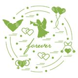 Cute vector illustration with different love symbols: hearts, ai. R balloons, key, angel and other  arranged in a circle. Romantic collection Royalty Free Stock Photo