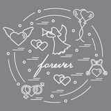 Cute vector illustration with different love symbols: hearts, ai. R balloons, key, angel and other  arranged in a circle. Romantic collection Royalty Free Stock Photography