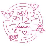 Cute vector illustration with different love symbols: hearts, ai. R balloons, key, angel and other  arranged in a circle. Romantic collection Stock Photo