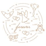 Cute vector illustration with different love symbols: hearts, ai. R balloons, key, angel and other  arranged in a circle. Romantic collection Stock Photography