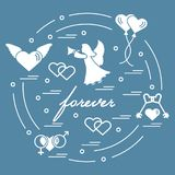 Cute vector illustration with different love symbols: hearts, ai. R balloons, key, angel and other  arranged in a circle. Romantic collection Royalty Free Stock Image
