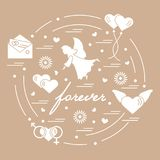 Cute vector illustration with different love symbols: hearts, ai. R balloons, postal envelope, angel and other arranged in a circle. Romantic collection Stock Photography