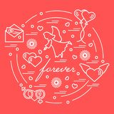 Cute vector illustration with different love symbols: hearts, ai. R balloons, postal envelope, angel and other arranged in a circle. Romantic collection Royalty Free Stock Photos